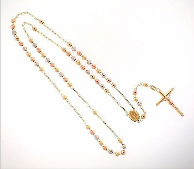 14K Solid Tri Color Gold 5mm Bead Virgin Guadalupe Rosary Necklace Rosario Oro