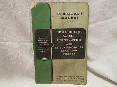 Vintage John Deere Operator's Manual No. 880 Cultivator and Rear Tool Frames