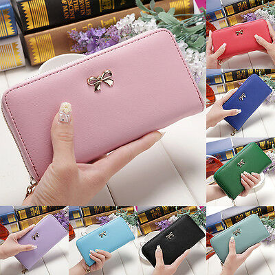 Women's lady Soft Leather Bowknot Clutch Wallet Long Card Purse Handbag Colorful
