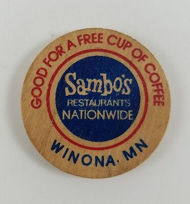 Vintage Sambo's Restaurant 200th Winona Minnesota Wooden Nickel for Free Coffee