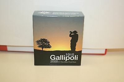 2005 $1 Gallipoli 90 Years Fine Silver Proof Coin.  Free Reg'd Post