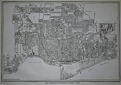 Vintage 1928 OLD Black White City Map Toronto, Ontario, Canada Beautiful L@@K!