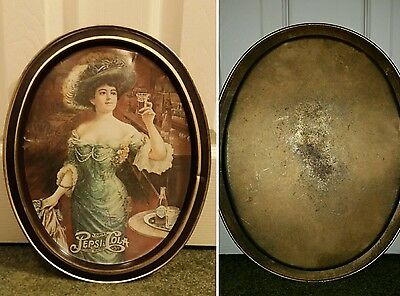 Vintage Pepsi Cola Soda Tin Serving Tray w/ Victorian Lady Brown Rim 5cents