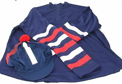 Equetech Cross Country Colours Ladies Navy Blue with white and red stripes - XL