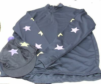 Equetech Cross Country Colours Ladies Black with yellow & purple stars - Large E