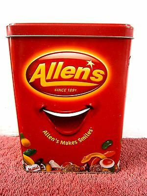 """Allens Since  1891  """"allens Makes Smiles""""    Empty  Embossed  Sweets  Tin"""