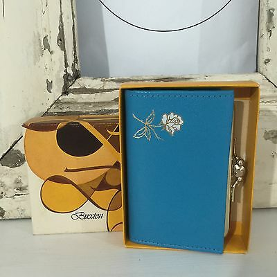 BUXTON Vintage BOXED Purse Blue COIN 60's FAB & FUN