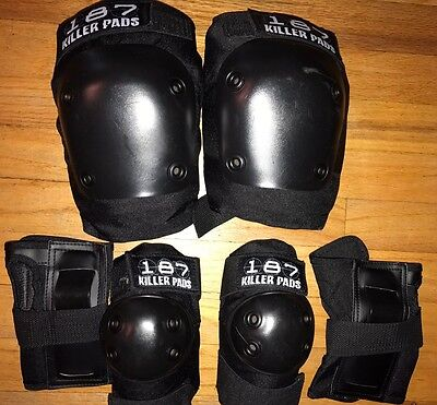 187 Killer Pads Combo JR SIX PACK Black Knee Elbow Wrist Guards EUC