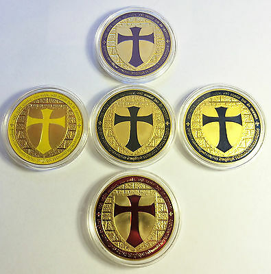 """Awesome Set of  5 x 1 OZ """"Templar Cross Coins"""" Finished in 999 24k Gold"""