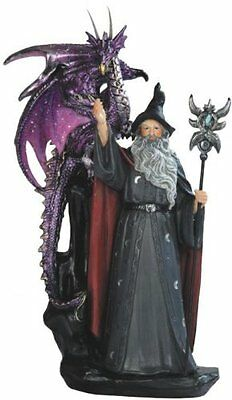 "11"" Wizard w/ Dragon Magician Fantasy Magic Merlin Sorceror Figurine Figure"