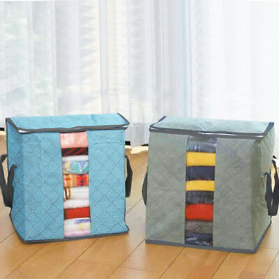 Bamboo Folding Charcoal Clothes Sweater Blanket Closet Organizer Storage Bag Box