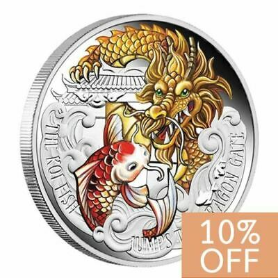 NEW Perth Mint Koi Fish Jumps the Dragon Gate 5oz Silver Proof Coloured Coin