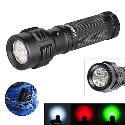 HUGSBY 11 LED 3 Color White Green Red 3*AAA Flight Aviation Pilot Flashlight
