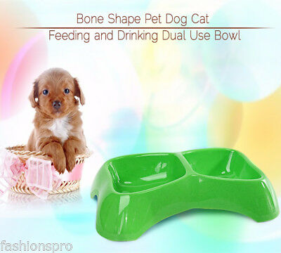 Bone Shape Pet Dog Cat Water Drinking and Food Feeding Bowl
