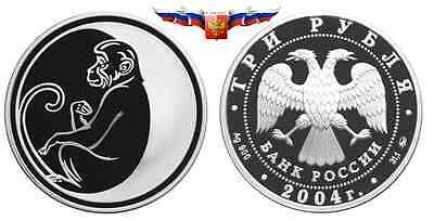 Russia 3 rubles 2004 Year of Monkey Silver 1 oz PROOF
