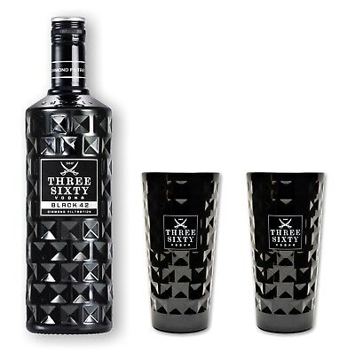 Three Sixty Vodka Black 42% 0,7l Set mit 2 schwarzen Gläsern 0,3l - Wodka - Glas