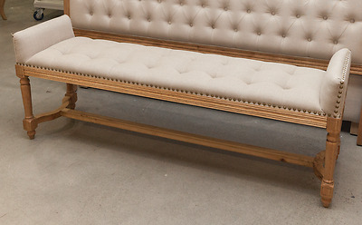 Quincy Upholstered Linen Bed End Bench French Provincial Hampton Beige