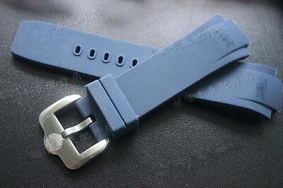 25.5mm*15.5mm rubber diver watch strap silicone band for IWC 371918 Aquatimer