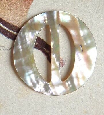 Small Round Vintage Mother Of Pearl Buckle/Slide~Pretty Lustre~Crafts
