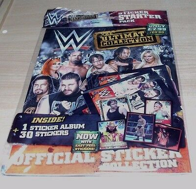 Topps WWE The Ultimate Collection Stickers Album Starter Pack + 30 stickers