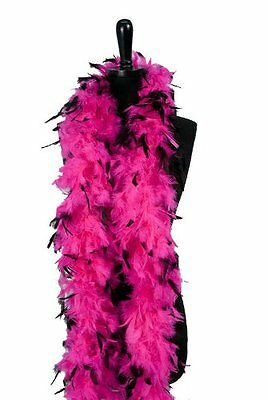 6 60g Adult Feather Boa,Hot Pink/Blk Tips
