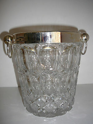 West Germany Lead Crystal Ice Bucket Mid-Century Heavy Hand cut rare collectable