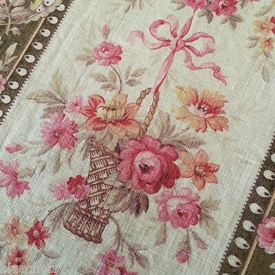 Vtg FRENCH Lge FABRIC PANEL PORTIERE Rose Baskets Pink Ribbon Bows M-Antoinette