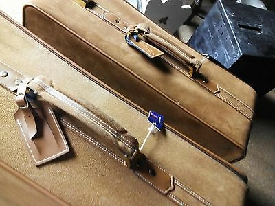 Vintage Luxury Luggage: 2 Classy Camel/Tan Textured Suede Suitcases