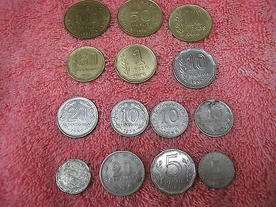 Set of Fourteen Peso & Centavo Coins from Argentina