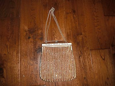 Vintage Gold Beaded w/Gold Metal Chain Evening Bag