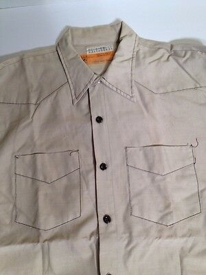 Red Kap Vintage Work Shirt Men's Large Mechanic Shop Beige USA Western