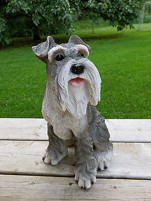 "Schnauzer Dog Sitting Dog Figurine Statue Resin Pet 15.35"" H Ornament New"