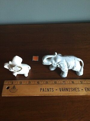 2 Elephant Vintage Elephant Antique Old Figure Figurine White Gold Crazing