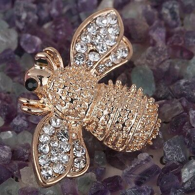 Vintage Gold Plated Brown Crystal Rhinestone Bee Insect Brooch Pin Wedding Party