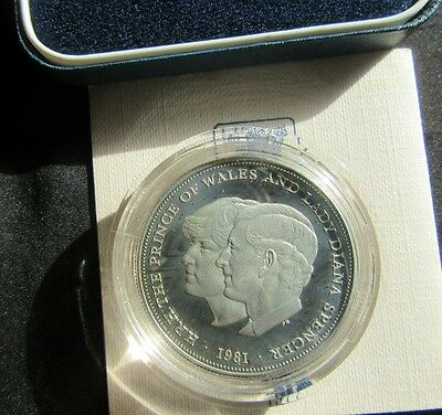 1981 Charles and Diana Royal Wedding 0.925 Silver Proof Crown Boxed With COA