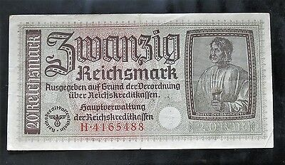 Ww2 1940-1945 Original Nazi German Banknote 20 Reichsmark *n* Good Condition