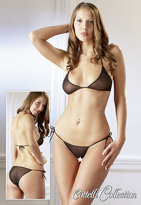 Bikini Wafer Thin, Transparent Fabric Cute Set-Cottelli Collection-Sexy Lingerie