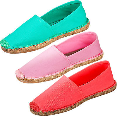 New Ladies Espadrilles Womens Sandals Canvas Flat Summer Slip On Cotton Shoes