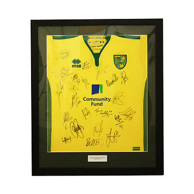 Official Norwich City Football Club 2016-17 Signed Framed Home Shirt