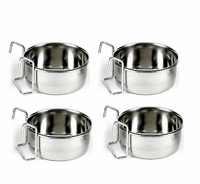 Pack Of 4 Stainless Steel Hook On Coop Cup Parrot Small Animal Pet Feeding Bowl