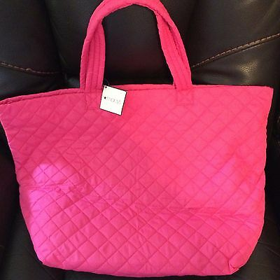 Macy's Exclusive Pink Quilted Large Beach Tote Bag Shopper Lightweight NEW NWT