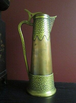 ANTIQUE GERMAN ARTS & CRAFTS ART NOUVEAU COPPER BRASS METAL WINE EWER Signed GBN
