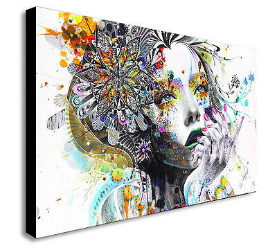FEMALE FACE - ABSTRACT WALL ART CANVAS PRINT FRAMED - Various sizes