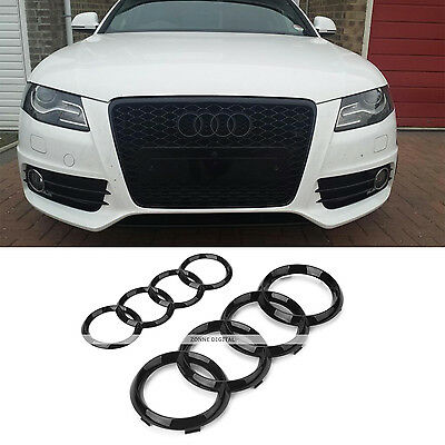 2 x Gloss Black Set Front Rear Grille Badge Rings Logo Emblem Audi A4 S4 RS4