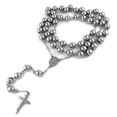 "MEN's Stainless Steel 10m 38"" Catholic Rosary Bead Necklace Crucifix Cross Chain"