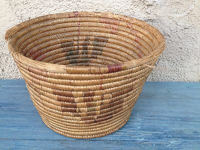 ANTIQUE WOVEN NATIVE AMERICAN CAHUILLA TRIBE BASKET w/ EAGLE CALIFORNIA MISSION