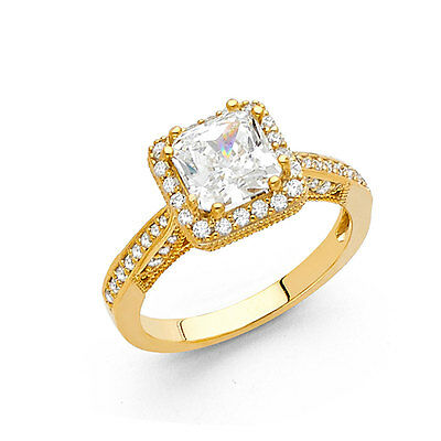 14K Solid Yellow Gold Cubic Zirconia Princess Cut Halo Wedding Engagement Ring