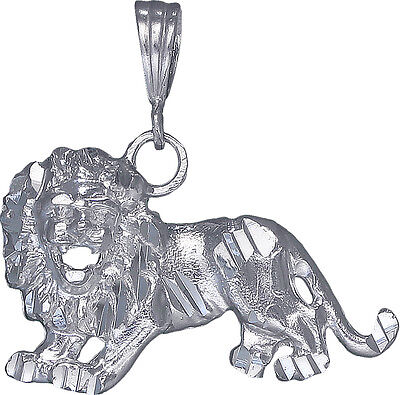 Sterling Silver Lion Charm Pendant Necklace Diamond Cut Finish with Chain