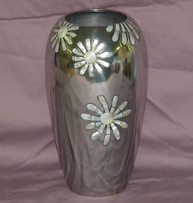"""Towle Silversmith Large 10"""" Vase w/Mother of Pearl Inlaid - Daisy Flower"""