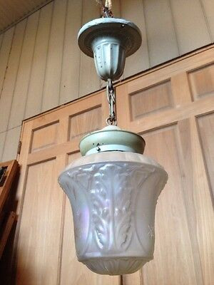B 51 Antique Stamped Brass And Frosted Glass Ceiling Pendant Light